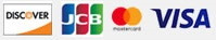 illustration of various payment card types and logos including visa, jcb, and mastercard