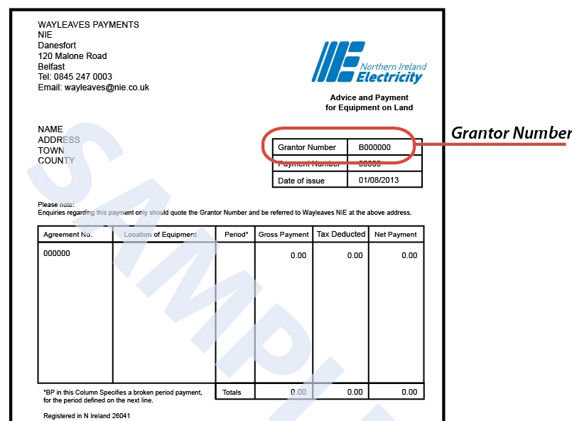 Your Grantor Number Consists Of 6 Numbers Preceeded By A Letter.  Payment Advice Slip